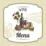 Fondo del menú del vino del vintage ilustración del vector