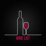 Fondo del menu di progettazione della lista del vetro da bottiglia del vino Fotografie Stock