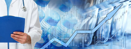 Fondo del mercado de acción de la atención sanitaria Imagen de archivo