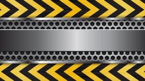 Fondo del metal Bandera del web bajo construcción Movimiento negro y amarillo de las flechas metrajes