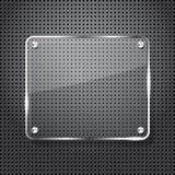 Fondo del metal con el marco de cristal Foto de archivo libre de regalías
