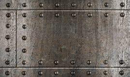 Fondo del metal de la armadura con los remaches Imagen de archivo libre de regalías