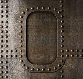 Fondo del metallo con i ribattini Fotografie Stock