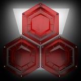 Fondo del metallo con vetro rosso Fotografie Stock