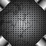 Fondo del metallo di lerciume con la griglia Immagini Stock