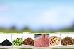 Fondo del minerale e del fertilizzante di agricoltura Immagini Stock Libere da Diritti