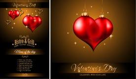 Fondo del modello del menu del ristorante di giorno del ` s del biglietto di S. Valentino Fotografia Stock