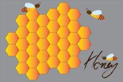 Fondo del modello dell'ape e del favo Reticolo senza giunte di esagono illustrazione vettoriale
