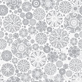 Fondo del modello di Grey Abstract Doodle Circles Seamless del nastro di vettore Grande per il tessuto elegante di struttura dell Immagini Stock Libere da Diritti