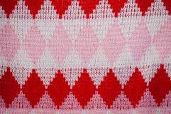 Fondo del modello tricottato di lana controllato Fotografie Stock