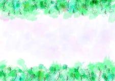 Fondo del modelo de la acuarela con la frontera verde y floral ilustración del vector