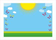 Fondo del modelo del verano - sol, nube, mariposa Foto de archivo
