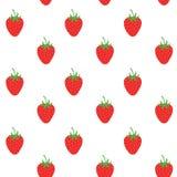 Fondo del modelo del vector de la fresa, ejemplo de la fruta en el fondo blanco, fondo inconsútil con las fresas rojas Imagen de archivo