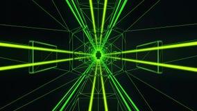 fondo del movimiento de Loopable del túnel del estilo de Tron del verde 3D libre illustration