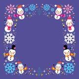 Fondo del muñeco de nieve de la Navidad y de la frontera del marco de las vacaciones de invierno de los copos de nieve Imágenes de archivo libres de regalías