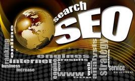 Fondo del mundo de la búsqueda de SEO Fotos de archivo
