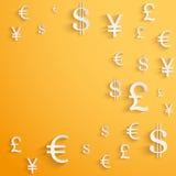 Fondo del negocio con símbolos de moneda del dinero Fotografía de archivo libre de regalías