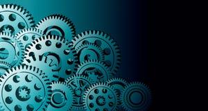 Fondo del negocio industrial de los engranajes de los dientes integraci?n del fondo fondo de la bandera de la tecnolog?a Ilustrac libre illustration