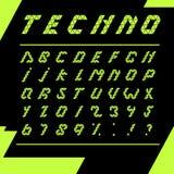 Fondo del negro del alfabeto del techno de la impresión Imagen de archivo libre de regalías