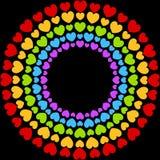 Fondo del negro del arco iris del partido del marco de los corazones