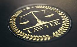 Fondo del negro de Gold Symbol Over de la defensa o del abogado Fotografía de archivo libre de regalías