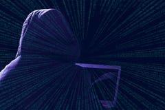Fondo del negro de la silueta del pirata informático Imagen de archivo libre de regalías