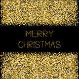 Fondo del negro de la tarjeta de felicitación del texto de la Feliz Navidad del marco del brillo de las chispas del oro Fotos de archivo libres de regalías