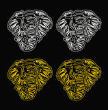 Fondo del negro del esquema de la cabeza del elefante del modelo Fotografía de archivo