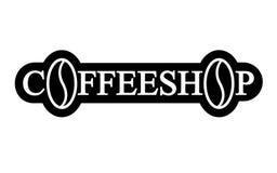Fondo del nero del modello di vettore di progettazione di logo della caffetteria Fotografia Stock