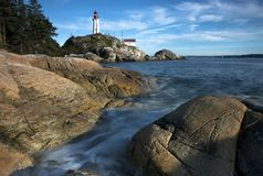 Fondo del noroeste pacífico del paisaje del océano del cielo del faro de Vancouver Fotografía de archivo libre de regalías