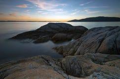 Fondo del noroeste pacífico del paisaje del océano del cielo del faro de Vancouver Foto de archivo libre de regalías