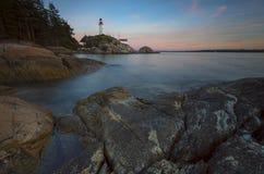 Fondo del noroeste pacífico del paisaje del océano del cielo del faro de Vancouver Foto de archivo