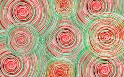 Fondo del nuovo anno con i cerchi di vortice delle tonalità rosse e verdi Immagini Stock
