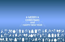 Fondo 2019 del nuovo anno con le figure, giocattoli di Natale, caramella, Santa, candela sul fondo blu di pendenza Composizione 2 illustrazione vettoriale