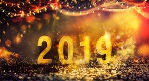 Fondo del nuovo anno con le luci brillanti fotografia stock