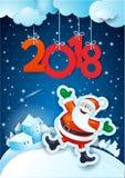Fondo del nuovo anno con Santa e testo felici Fotografie Stock