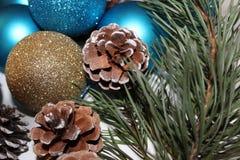 Fondo del nuovo anno dai giocattoli di Natale Fotografie Stock Libere da Diritti