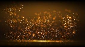 Fondo del nuovo anno della luce dell'oro di incandescenza Fotografie Stock Libere da Diritti