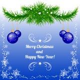 Fondo del nuovo anno e di Natale in blu con le bagattelle Fotografia Stock
