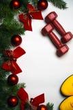 Fondo del nuovo anno e di Natale con i rami verdi delle palle di vetro dell'albero di abete e delle campane rosse degli archi di  fotografia stock libera da diritti