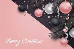 Fondo del nuovo anno e di Natale con le palle Fotografia Stock Libera da Diritti