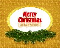 Fondo del oro de la Navidad con el marco chispeante Foto de archivo libre de regalías
