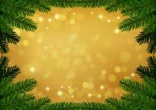 Fondo del oro del marco del abeto de la Navidad Foto de archivo