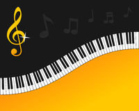 Fondo del oro del teclado de piano Imágenes de archivo libres de regalías