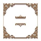 Fondo del oro del vintage, marco cuadrado de la joyería stock de ilustración