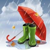 Fondo del otoño con el paraguas rojo y los gumboots verdes ilustración del vector