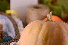 Fondo del otoño con la calabaza Imágenes de archivo libres de regalías