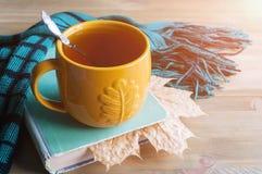 Fondo del otoño con la taza de té, de libro viejo y de bufanda caliente en el fondo de madera Todavía del otoño vida Foto de archivo libre de regalías