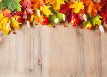 Fondo del otoño Hojas de otoño varicolored del arce en el fondo de madera imágenes de archivo libres de regalías