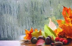 Fondo del otoño, ventana lluviosa Imagen de archivo libre de regalías